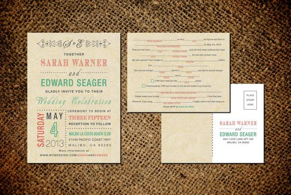 Vintage Wedding Invitation & RSVP Card - Old Fashioned Style - Printable DIY No. 2 on Etsy, $45.00