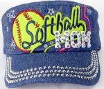Wholesale Rhinestone Softball MOM Cadet Caps - Dark Denim