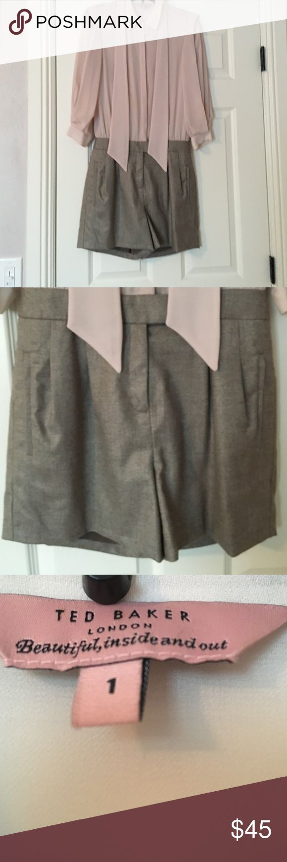 Gorgeous romper by Ted Baker. Worn once. Worn once. Pretty much new. Size 1. Shorts have side pockets and are lined inside. Tie is attached to the back of collar. Ted Baker Dresses Long Sleeve