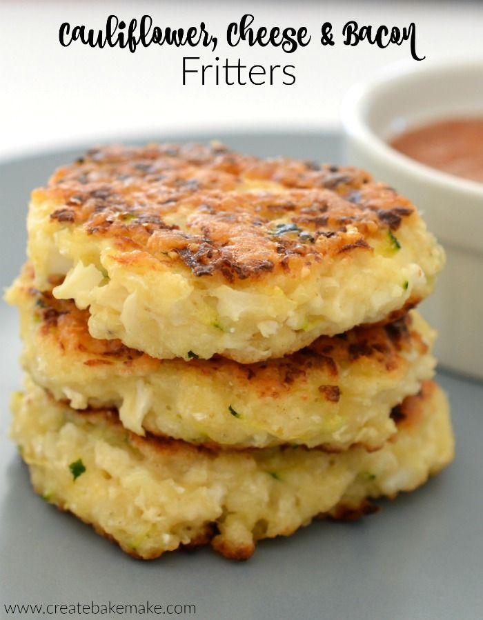 Cauliflower Bacon and Cheese Fritters, both regular and thermomix instructions included