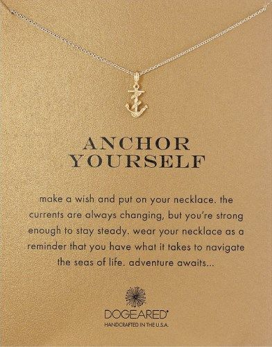 Anchor Yourself Pendant Necklace. Great gift for girls embarking new life. Off to college gift ideas.