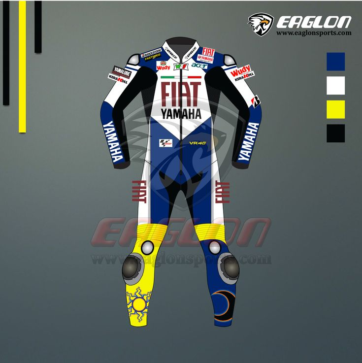 Valentino Rossi FIAT Yamaha MotoGP 2008 Leather Race Suit. He wore this suit and becomes World Champion of MotoGP 2008. Description Valentino Rossi FIAT Yamaha MotoGP 2008 Leather Race Suit is designed for professional bikers to show their love toward him on the track. This suit is made of Cowhide leather with thickness of 1.2-1.3 …