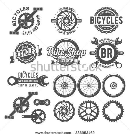 Set of vintage and modern bicycle shop logo badges and labels. Bicycle wheel isolated vector, bicycle parts icon, bicycle shop and repair logotypes, bicycle  chain, bicycle old style badge template