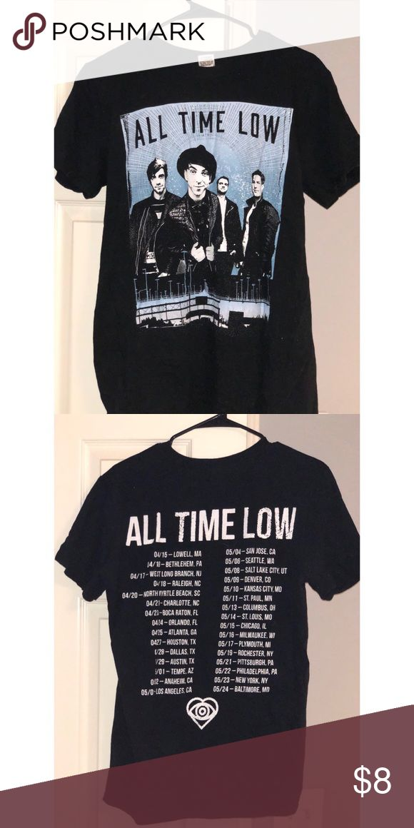 All Time Low Future Hearts Tour Shirt black tshirt for ATL's Future Hearts Tour - band member graphic on front; tour dates on back Tops Tees - Short Sleeve