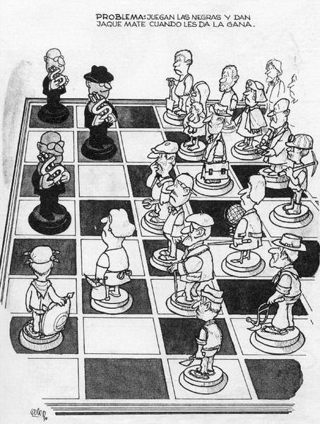 Problema: Juegan las negras y dan jaque mate cuando les da la gana (por Quino)