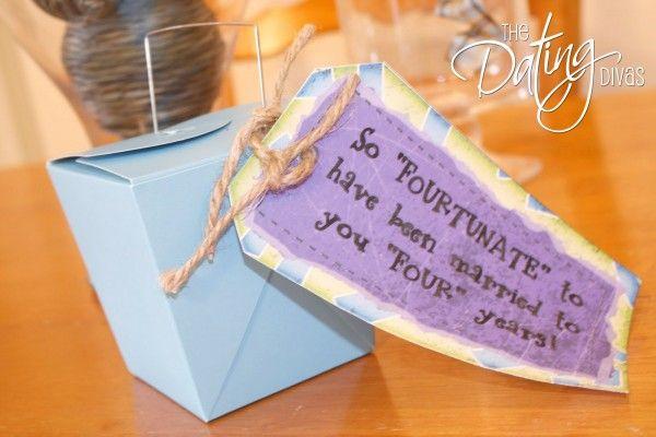 4th anniversary: Fortune Cookie, Wedding Anniversary, Gifts Ideas, Anniversaries Ideas, Anniversaries Gifts, Anniversary Ideas, Anniversary Gifts, 4Th Anniversaries, Dating Divas
