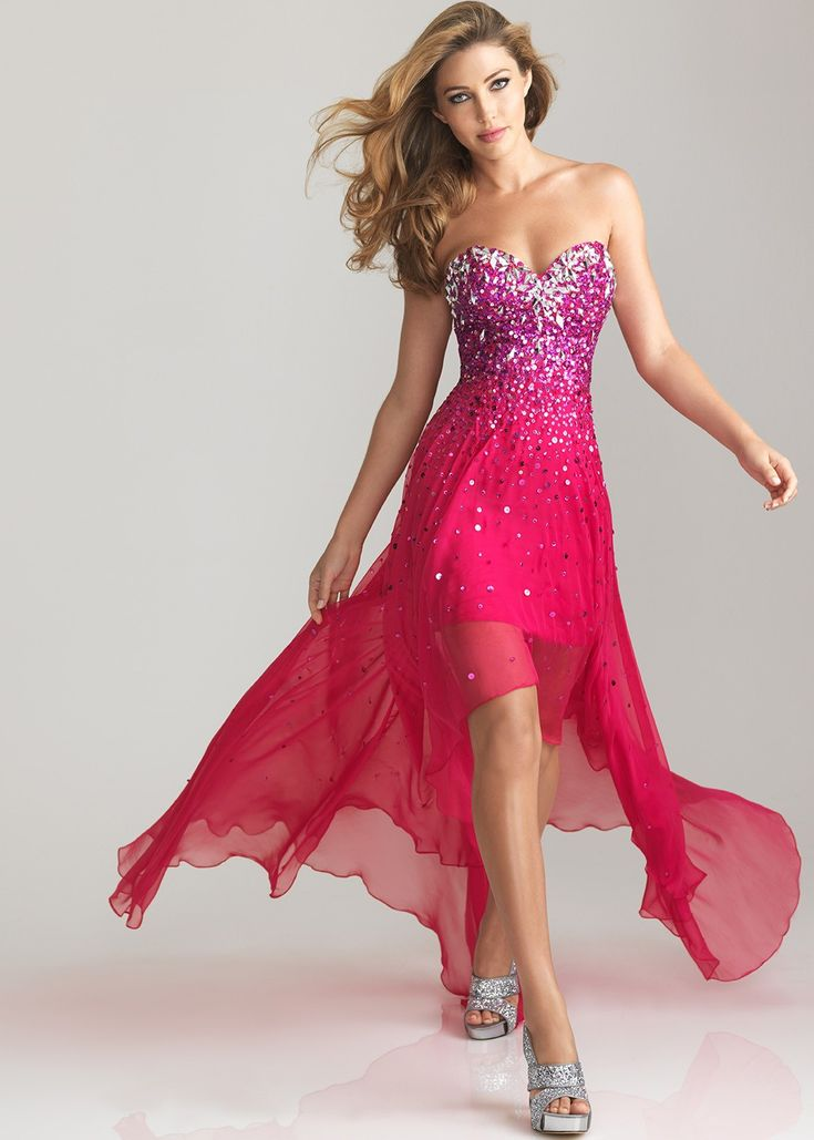 CUTE Fuchsia Pink Strapless High Low Prom Dresses - Formal Dress - Hi Lo Dresses - Night Moves 6632 - RissyRoos.com