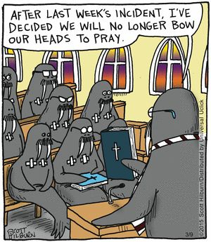 Praying manatees. Religious humor cartoon comics www.theargylesweater.com