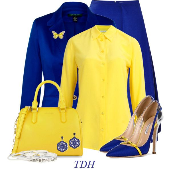 Royal Blue & Yellow, created by talvadh on Polyvore