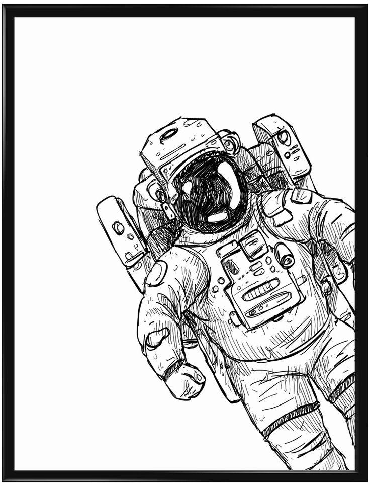 Denna poster illustrerar en astronaut på rymdfärd och passar lika bra i…