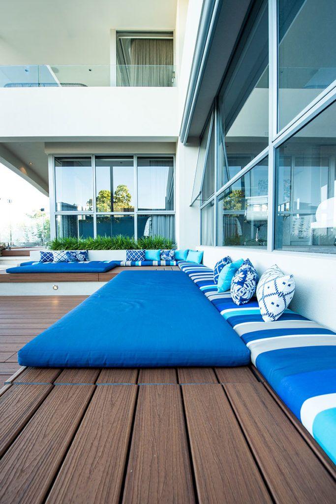 blue outdoor sofa