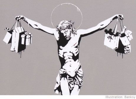 Banksy street art - Jesus died so we can shop for his birthday