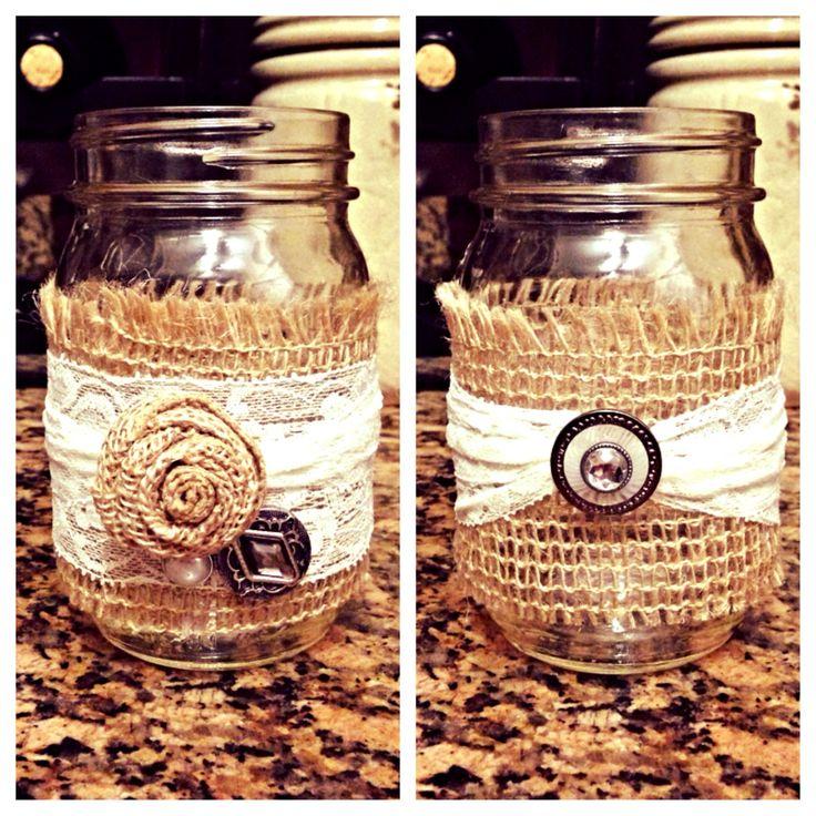 Embellished Burlap Mason Jar.    #embellished #burlap #mason #jar #masonjar #youcanbuyme #brffco #forsale #gift #gifting www.brffco.com