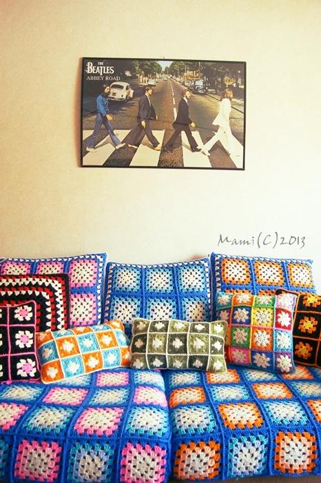 Crochet sofa cover and cushion's.