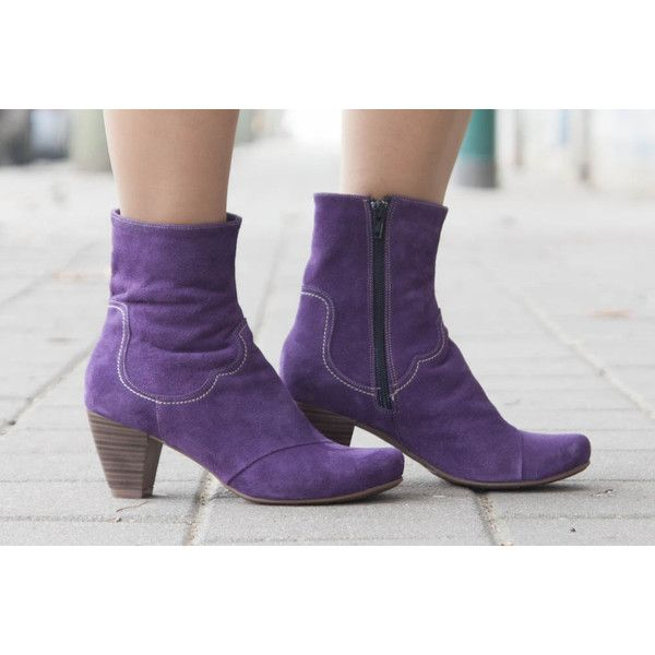 Purple Leather Boots Ankle Boots Leather Booties Brown Boots Winter... ($140) ❤ liked on Polyvore featuring shoes, boots, ankle booties, booties & ankle boots, purple, women's shoes, brown booties, high heel booties, brown cowgirl boots and short brown boots