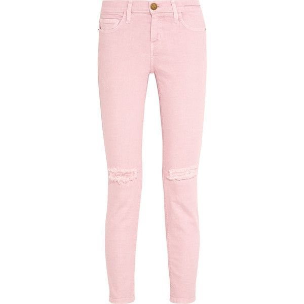 Current/Elliott - The Stiletto Distressed Mid-rise Skinny Jeans (5,840 INR) ❤ liked on Polyvore featuring jeans, pastel pink, destroyed denim skinny jeans, ripped skinny jeans, cowgirl jeans, destructed skinny jeans and skinny jeans