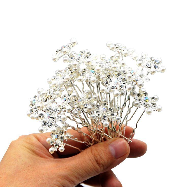 Snowflake Hairpin - U Shape Rhinestone Pearl Hair Pin - Snow Queen Elsa Frozen Jewelry Fork Clip(1 BOX)