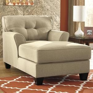 "NEBRASKA FURNITURE MART- Ashley Laryn Chaise (khaki) $309.00 -- w: 39"" d: 61"""