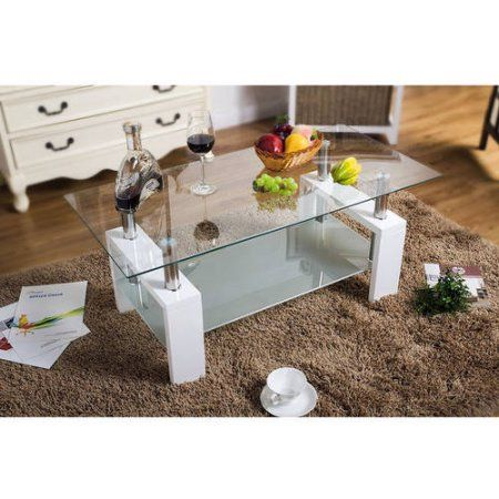 Merax Contemporary Coffee Tea Table with White Glass Top and Wooden Legs