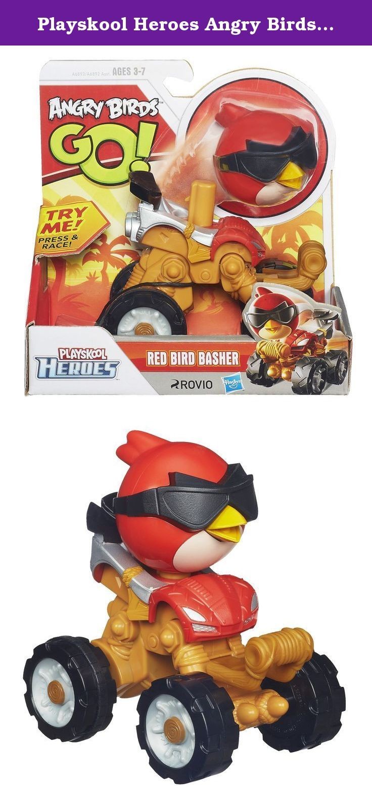 Playskool Heroes Angry Birds Go! Red Bird Basher. It's the Angry Birds app come to life, in collectible birds and pigs your little ones can roll and race! The Red Bird Basher lets you continue the clash between the birds and the pigs on the track! Zoom your Red Bird Basher until he crashes and watch the bird part pop out and slam into his piggy opponent. Who will win the ultimate bird-pig smash-up? It's all up to you! Playskool and all related characters are trademarks of Hasbro. Hasbro…