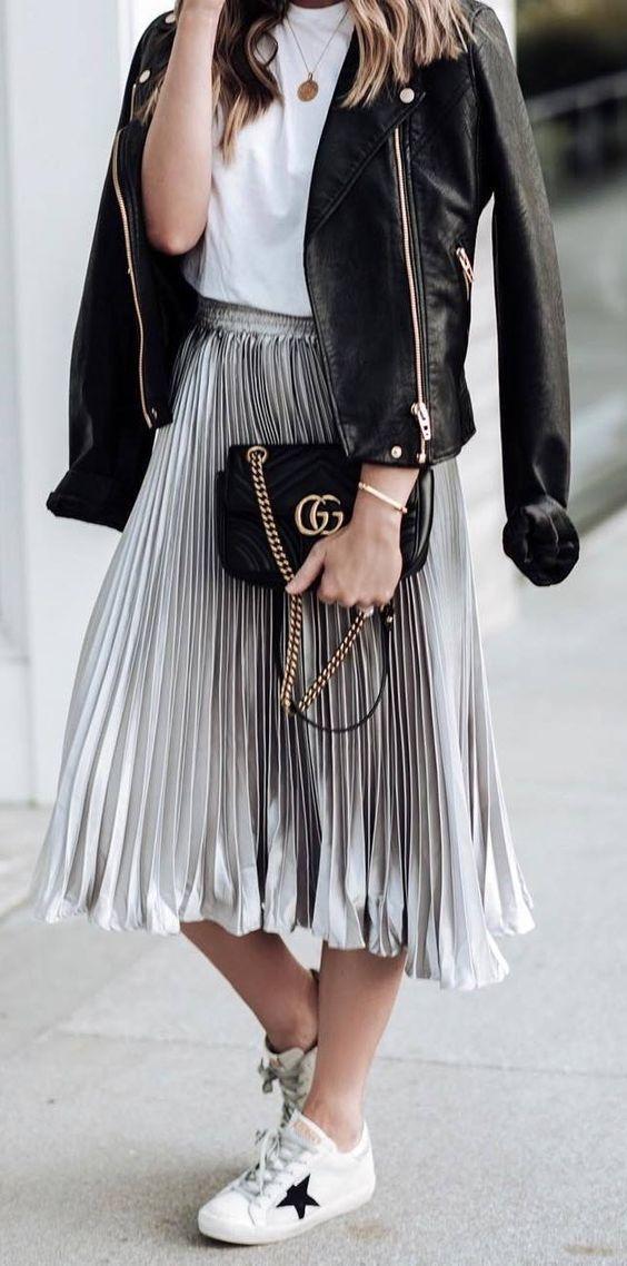 CLICK & BUY :) Silver metallic pleated high waisted skirt midi length fall au... 2