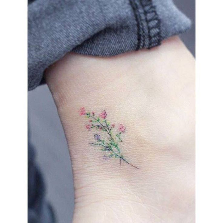 Watercolor flowers ankle tattoo