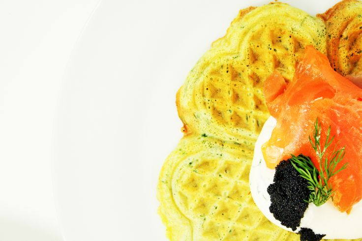 Spinach waffles with smoked salmon