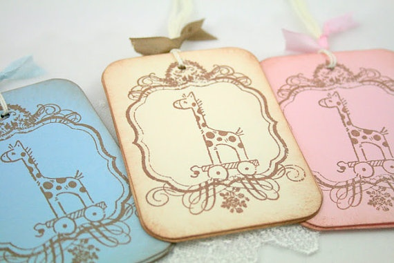 Vintage baby shower gift tags x