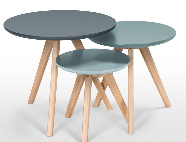 3 x Orion Side Tables, Blue Orion is expertly crafted with three sturdy wooden legs for stability. The pine features grains and knots, so you know your piece is like no other. £99 | MADE.COM