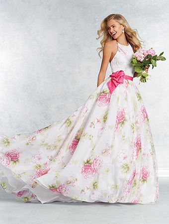 Alfred Angelo Style 2644: floral ball gown wedding dress with satin waistband