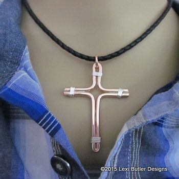 Hand Crafted Sturdy Wire Copper and Silver Cross Necklace for Him