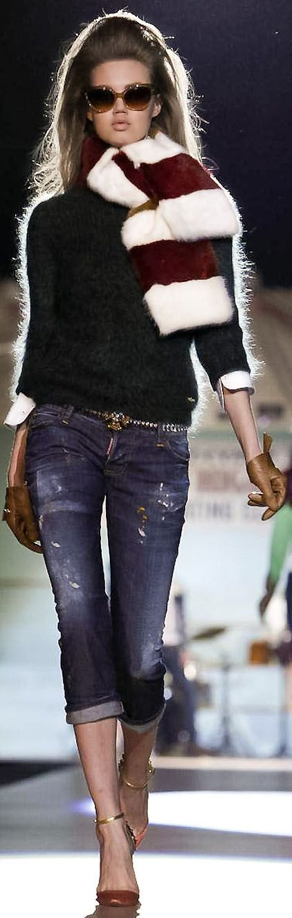 Dsquared2  love this look , especially the scarf and sweater, - mohair?-