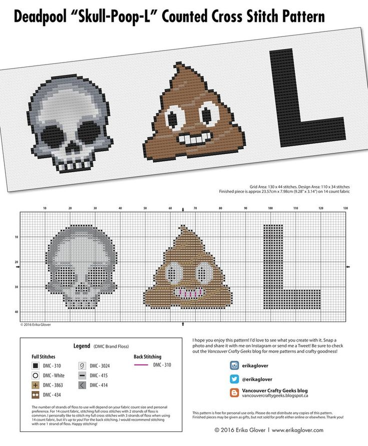 Free cross stitch pattern! Deadpool (Skull-Poop-L) Emoji Cross Stitch Pattern by Erika Glover. Free download from the Vancouver Crafty Geeks blog