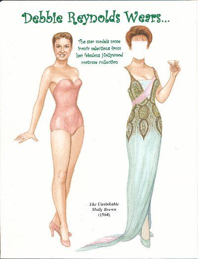 Debbie Reynolds paper doll | Debbie Reynolds, Unsinkable Molly Brown (1964)]
