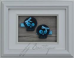 Black & Turquoise Skull Hair Clips  - hc038 -$5.00 for pair available on jLj Bowtique