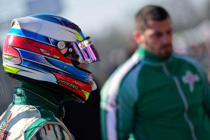 Akis Vasileris with the kart racing team PRT Motorsport ready for the 3rd Round of Rotax Eurochallenge 2015...