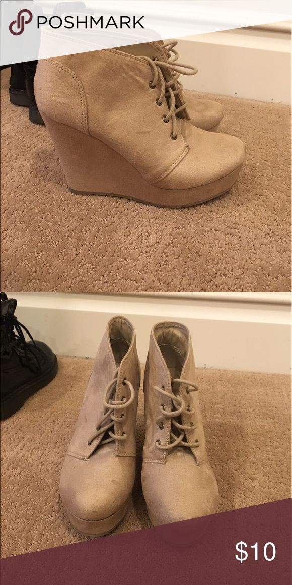 Beige Wedges Beige wedges/heels with a lace up in front. I'm rest condition and super comfy Soda Shoes Heels