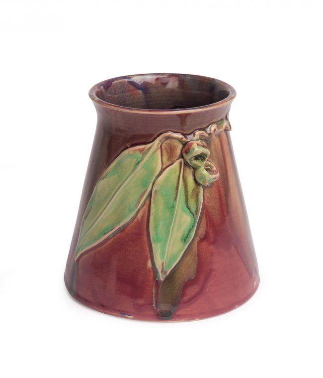 Remued Pottery | gumnut and gum leaf vase