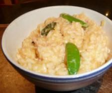 Chicken and Lemon Risotto  Ingredients :  70 grams parmesan cheese   1 onion small  20 grams olive oil   300 grams arborio rice   70 grams white wine   760 grams water   2 lemons   100 grams cooked shredded chicken   1 tbsp TM stock concentrate   handful of snow peas or sugar snaps   handful of baby spinach