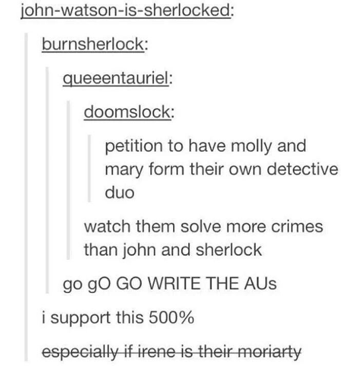 """Mrs Hudson becomes their Mycroft! Sally is Anderson!!"" MAKE THIS A THING!"