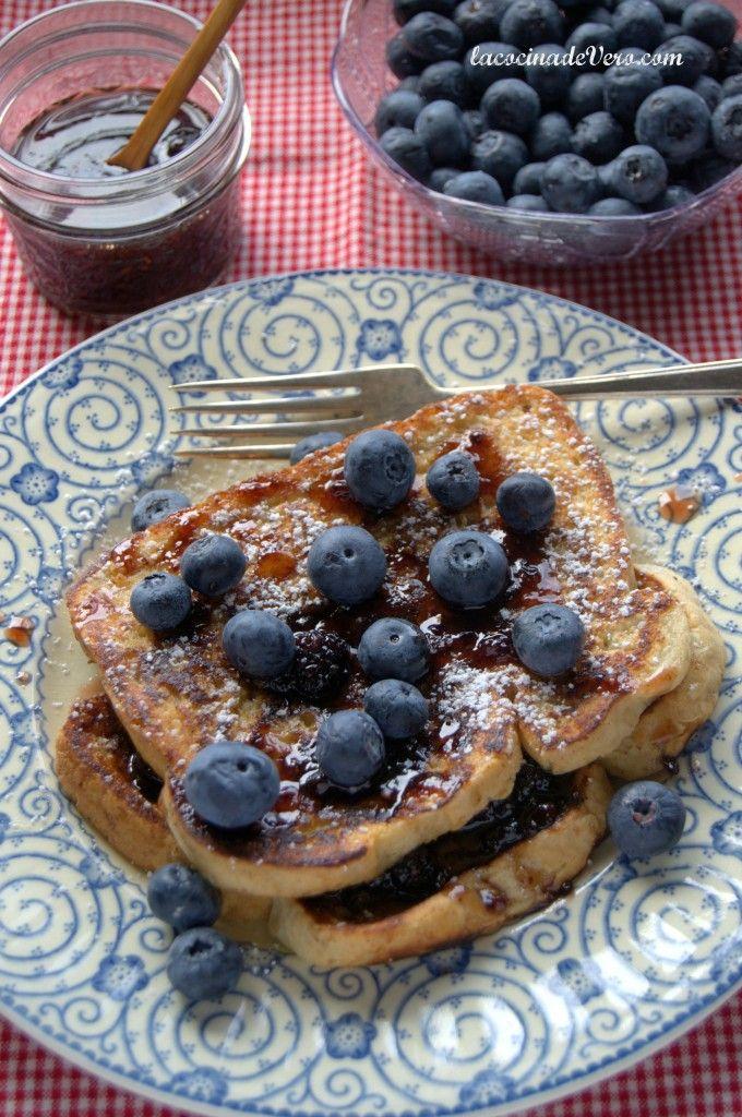 Tostadas Francesas con Arándanos #desayunos #recetas