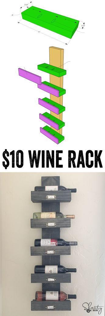 So cute and so easy! FREE plans and video tutorial to create this $10 wine rack…