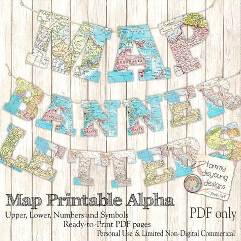 Map Banner Garland Printable *World Map Alphabet* Letters for custom party decor, graduation, weddings, travel, map theme