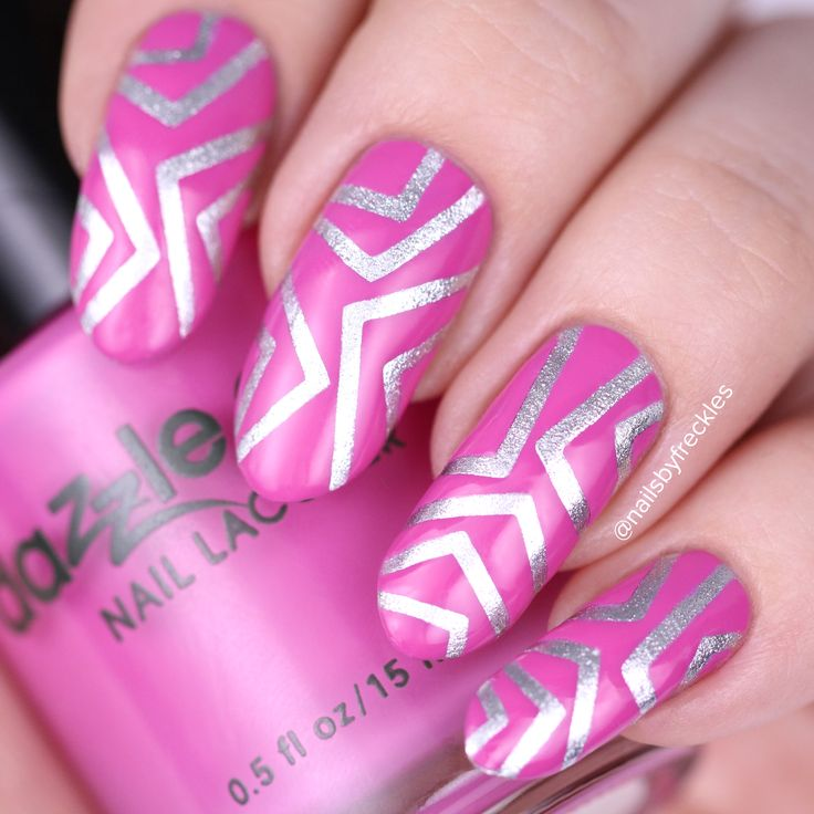 Geometric nail design by @nailsbyfreckles using skinny chevron tape from whatsupnails.com @whatsupnails  Base coat: Dazzle Dry - Base Coat Pink: Dazzle Dry - Cherry Parfait Silver: Silver: Dazzle Dry - Silver Lamé Top Coat: Dazzle Dry - Fast Dry Top Coat  5 free, vegan, cruelty free Dazzle Dry nail polishes are available on whatsupnails.com @whatsupnails