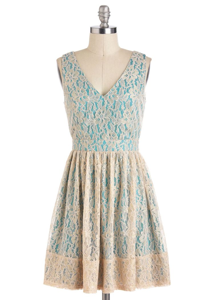 Wouldn't It Be Ice Dress - Tan / Cream, Lace, A-line, Sleeveless, Spring, Mid-length, Daytime Party, V Neck, Blue, Floral