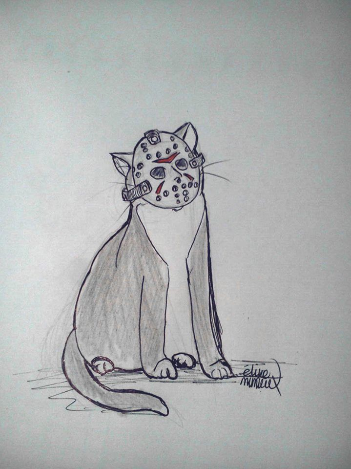 Billyernes 13 ©Éline Mimieux 2016  Boceto rápido de mi gato Billy alusivo al viernes 13