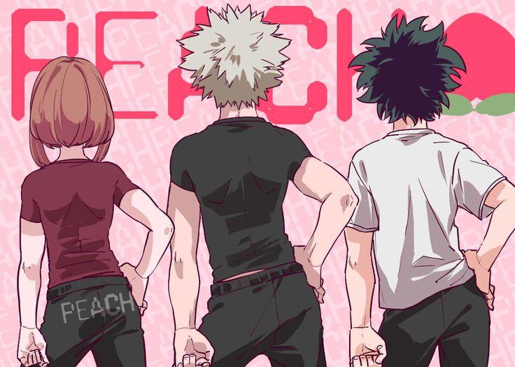 Boku no Hero Academia || Uraraka Ochako, Katsuki Bakugou, Midoriya Izuku.