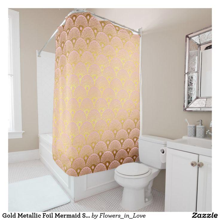Gold Metallic Foil Mermaid Scales Pink Modern Shower Curtain