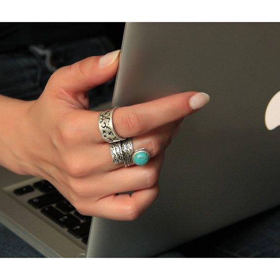 Boho Ring-Bohemian Ring-Gypsy Tribal Ring-Big Large Ring-Unique Ring-Stone Ring-Silver Rings-Hippie Rings-Rustic Boho Rings-Boho Tribal