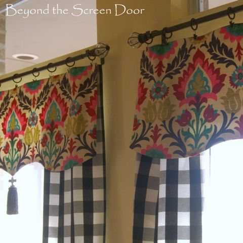 buffalo check kitchen curtains | Elizabeth wanted to keep the look of the black metal rod and rings so ...